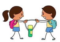 children fight for water bottle